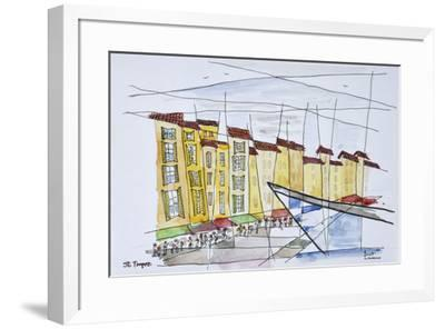 Cubist waterfront abstract, Saint-Tropez, French Riviera, France-Richard Lawrence-Framed Premium Photographic Print