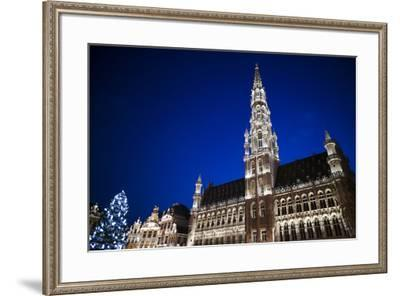 Belgium, Brussels. Grand Place, Holiday lights with a Christmas tree-Walter Bibikow-Framed Premium Photographic Print