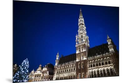 Belgium, Brussels. Grand Place, Holiday lights with a Christmas tree-Walter Bibikow-Mounted Premium Photographic Print