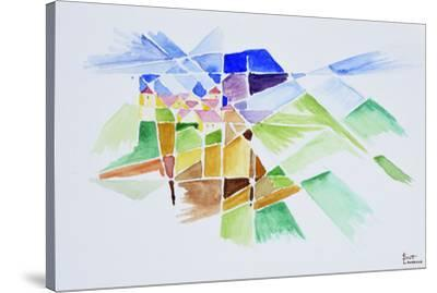 Abstract watercolor of Gourdon, Provence, France-Richard Lawrence-Stretched Canvas Print