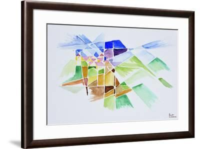 Abstract watercolor of Gourdon, Provence, France-Richard Lawrence-Framed Premium Photographic Print