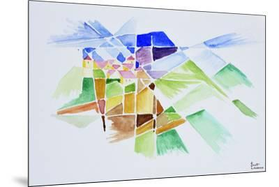 Abstract watercolor of Gourdon, Provence, France-Richard Lawrence-Mounted Premium Photographic Print