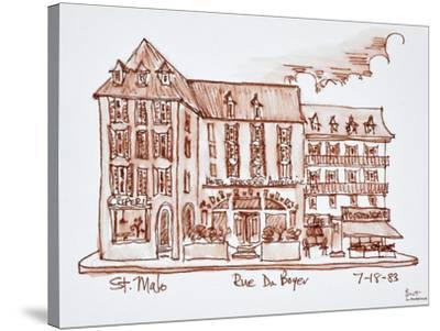 Hotel Brasserie Armoricaine along Rue du Boyer, St. Malo, Brittany, France.-Richard Lawrence-Stretched Canvas Print