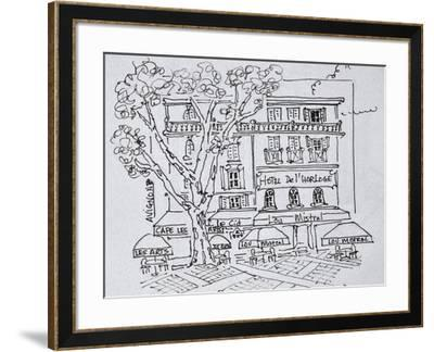 Courtyard cafe in front of the Hotel del'Horloge, Avignon, France-Richard Lawrence-Framed Photographic Print