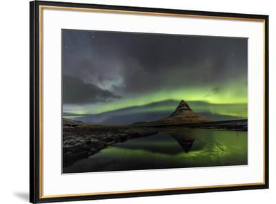 Aurora Borealis reflects below Kirkjufell, Snaefellsnes Peninsula, Iceland-Chuck Haney-Framed Premium Photographic Print
