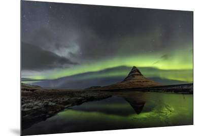 Aurora Borealis reflects below Kirkjufell, Snaefellsnes Peninsula, Iceland-Chuck Haney-Mounted Premium Photographic Print