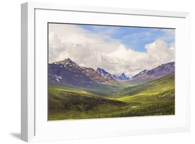 Canada, Yukon. Landscape of Tombstone Range and North Klondike River.-Jaynes Gallery-Framed Premium Photographic Print