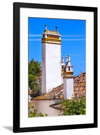Towers of building in a Medieval Town, Obidos, Portugal-William Perry-Framed Premium Photographic Print