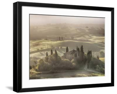 Italy, Tuscany, light filters through the fog at Belvedere House-Terry Eggers-Framed Photographic Print