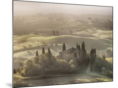Italy, Tuscany, light filters through the fog at Belvedere House-Terry Eggers-Mounted Photographic Print