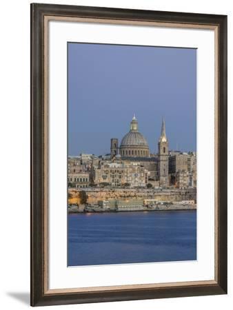Malta, Valletta, historic skyline at Dusk-Rob Tilley-Framed Premium Photographic Print