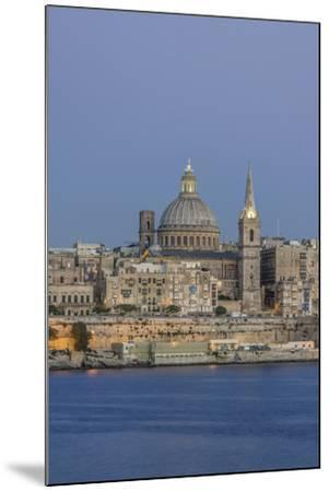 Malta, Valletta, historic skyline at Dusk-Rob Tilley-Mounted Premium Photographic Print