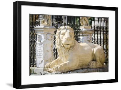 Lion statue at the entrance to the Arsenal, Venice, Veneto, Italy-Russ Bishop-Framed Premium Photographic Print
