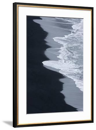 Iceland, Ingolshofdi, Water Rushing Up on Lava Sand-Hollice Looney-Framed Premium Photographic Print