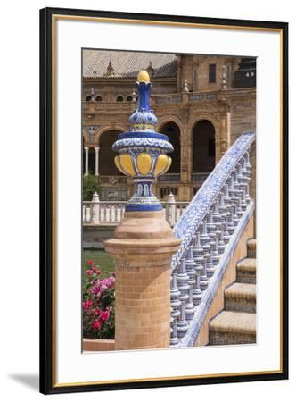 Spain, Andalusia, Seville. Plaza de Espana, ornate bridge.-Brenda Tharp-Framed Premium Photographic Print