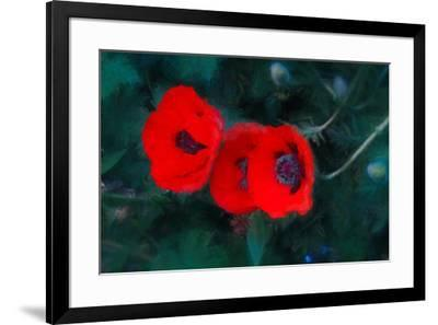 Three Poppies of Scarlet-Helen White-Framed Giclee Print