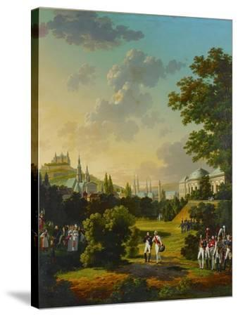 Meeting between Napoleon I and the Grand Duke Ferdinand Joseph at Wuerzburg, Germany,1806.-Hyppolyte Lecomte-Stretched Canvas Print