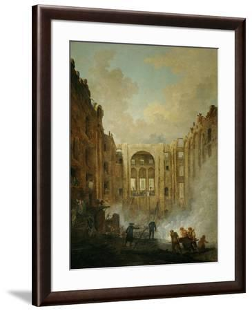 The fire at the operahouse in the Palais Royal,1781-Hubert Robert-Framed Giclee Print