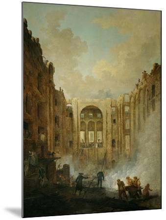 The fire at the operahouse in the Palais Royal,1781-Hubert Robert-Mounted Giclee Print