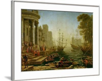 Seaport with the embarkation of Saint Ursula, 1614-Claude Lorrain-Framed Giclee Print