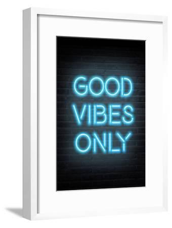 Good Vibes Only - Blue Neon--Framed Art Print