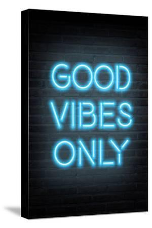 Good Vibes Only - Blue Neon--Stretched Canvas Print