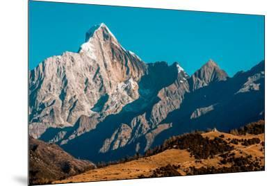 Early morning light on Mount Siguniang on the Tibetan Plateau.-Ben Horton-Mounted Photographic Print
