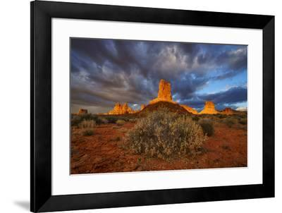 Sunriose over the Valley of the Gods.-Andy Mann-Framed Photographic Print
