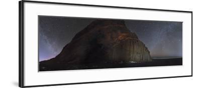 Starry sky and Winter Milky Way above basalt columns on the ocean coast.-Babak Tafreshi-Framed Photographic Print
