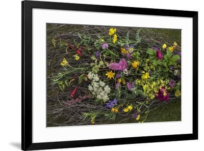 Flowers from a pagan wedding at a Neolithic henge monument with a stone circle.-Jim Richardson-Framed Photographic Print