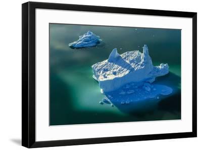 Aerial of icebergs in Sermilik Fjord.-Ralph Lee Hopkins-Framed Photographic Print