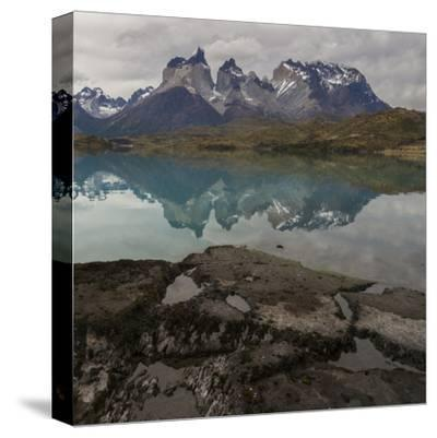 Reflection of Mountain Peak in a Lake, Torres Del Paine, Lake Pehoe--Stretched Canvas Print