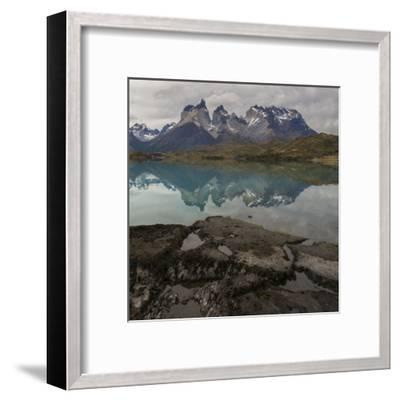 Reflection of Mountain Peak in a Lake, Torres Del Paine, Lake Pehoe--Framed Art Print