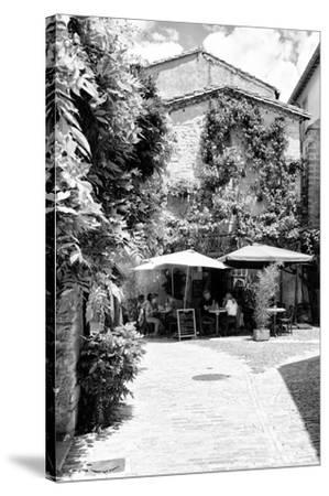 France Provence B&W Collection - Provencal Restaurant - Uzès-Philippe Hugonnard-Stretched Canvas Print