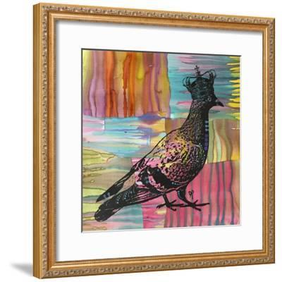 King Of The Free World, Birds, Pets, Pigeon, Crown, Pop Art, Watercolor, Stencils, Drips, Strut-Russo Dean-Framed Giclee Print