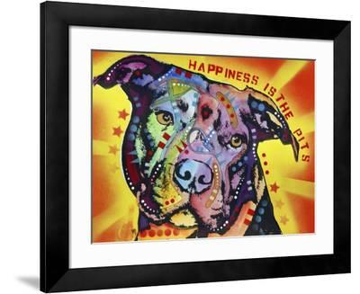 Happiness Is The Pits Sunray, Dogs, Pets, Pit Bull, red and yellow, Pop Art, Stencils, Motivational-Russo Dean-Framed Giclee Print