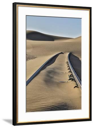 Africa, Namibia, Garub, Railroad Tracks and Drifted Sand-Hollice Looney-Framed Photographic Print