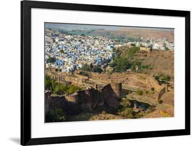 India, Rajasthan, Jodhpur. Mehrangarh Fort, view from tower of old city wall and houses beyond pain-Alison Jones-Framed Photographic Print