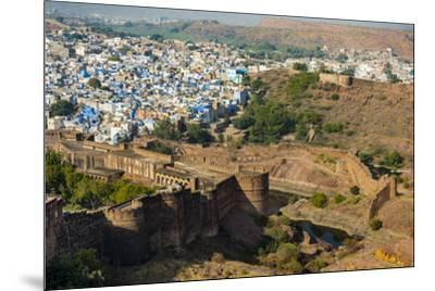 India, Rajasthan, Jodhpur. Mehrangarh Fort, view from tower of old city wall and houses beyond pain-Alison Jones-Mounted Photographic Print