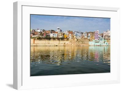 India, Uttar Pradesh. Varanasi on the Ganges River, view from river boat of Shitlo Ghat and Lal Gha-Alison Jones-Framed Photographic Print