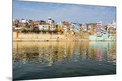 India, Uttar Pradesh. Varanasi on the Ganges River, view from river boat of Shitlo Ghat and Lal Gha-Alison Jones-Mounted Photographic Print