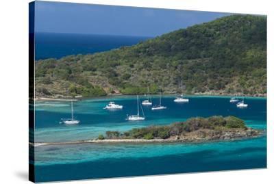 British Virgin Islands, Jost Van Dyke. Long Bay from Roach Hill-Walter Bibikow-Stretched Canvas Print