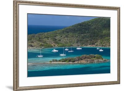 British Virgin Islands, Jost Van Dyke. Long Bay from Roach Hill-Walter Bibikow-Framed Photographic Print