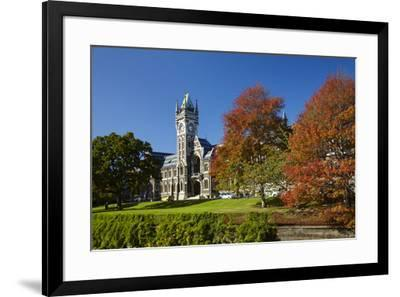 Clock Tower, Registry Building, University of Otago in Autumn, Dunedin, South Island, New Zealand-David Wall-Framed Photographic Print