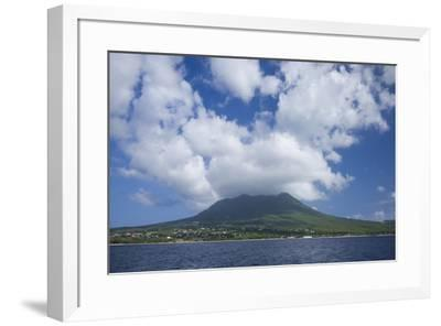 St. Kitts and Nevis, Nevis. View of Nevis Peak from the sea-Walter Bibikow-Framed Photographic Print