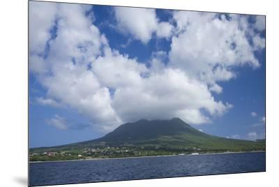 St. Kitts and Nevis, Nevis. View of Nevis Peak from the sea-Walter Bibikow-Mounted Photographic Print