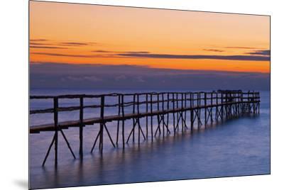 Canada, Manitoba, Winnipeg. Pier on Lake Winnipeg at dawn.-Jaynes Gallery-Mounted Photographic Print