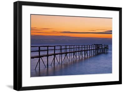 Canada, Manitoba, Winnipeg. Pier on Lake Winnipeg at dawn.-Jaynes Gallery-Framed Photographic Print
