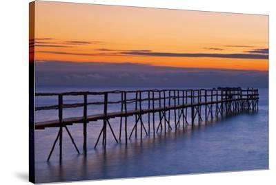 Canada, Manitoba, Winnipeg. Pier on Lake Winnipeg at dawn.-Jaynes Gallery-Stretched Canvas Print
