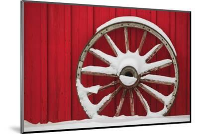 Snow-covered wagon wheels against red barn near town of Banff, Canadian Rockies, Alberta, Canada-Stuart Westmorland-Mounted Photographic Print